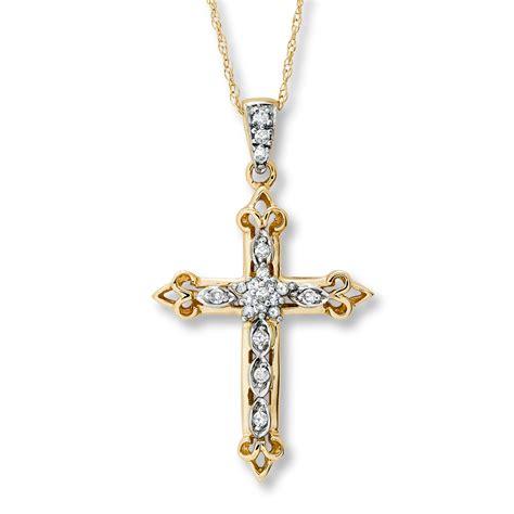 cross necklace 1 8 ct tw cut 14k