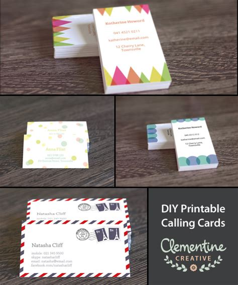 diy card template free diy printable business card template
