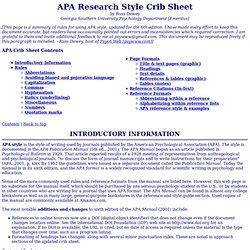 Apa Crib Sheet by Citations Search Tools Pearltrees