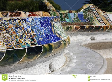 park guell bench ceramic bench from park guell stock photo image 16040270