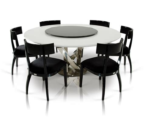 a x spiral modern white dining table with lazy susan