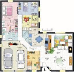 plan 4 chambres plain pied plans maisons