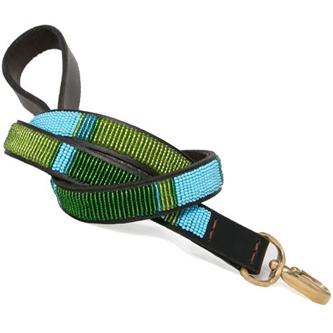 Handmade Leather Leashes - collection blue lagoon beaded leash
