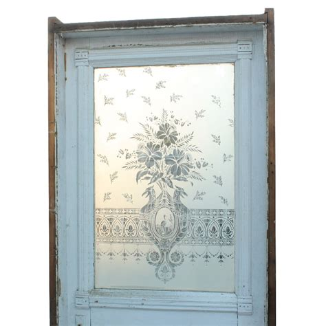Antique Etched Glass Doors Antique 19th Century 32 Door With Figural Etched Glass Heron Birds With Daffodils Ned93 For