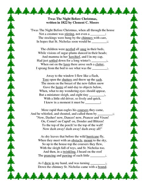 printable version of night before christmas twas the night before christmas poem printable copy