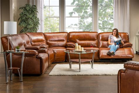 Sectional Leather Sofas With Recliners Leather Power Reclining Sectional At Gardner White