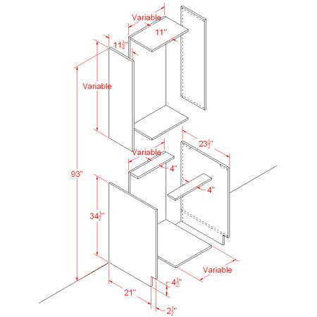 kitchen cabinet diagrams using basic polygon editing to create a base cabinet