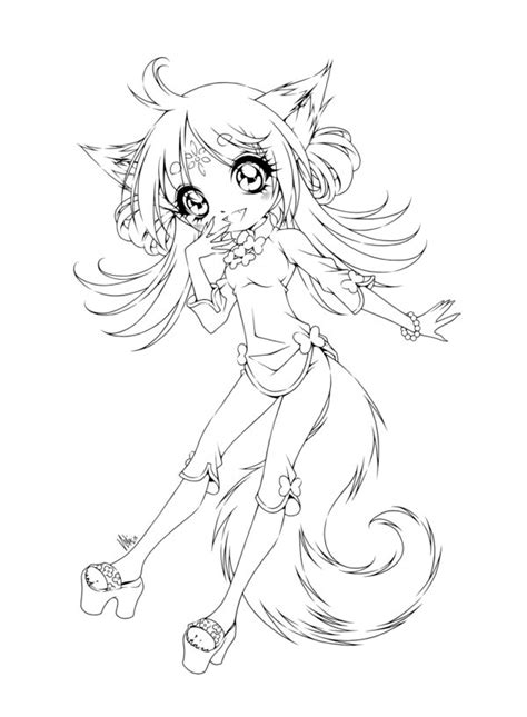 chibi fox coloring pages fox girl by sureya on deviantart