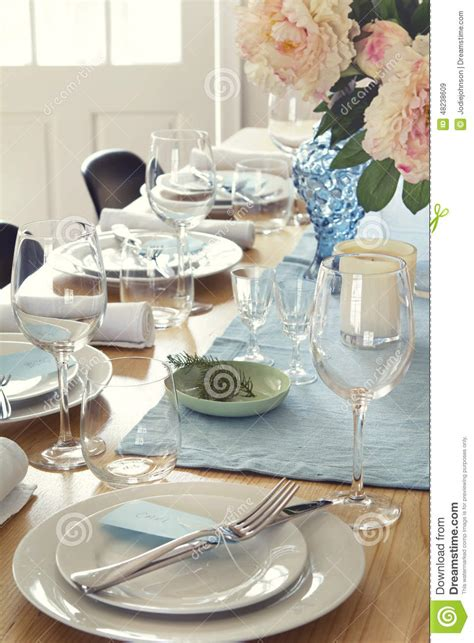 formal dinner table setting formal dinner table setting at home stock photo image
