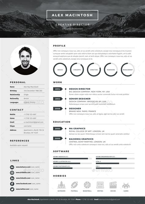 Cv Template Adobe Mono Resume Template By Www Ikono Me 3 Page Templates 90 Icons Adobe Indesign Illustrator