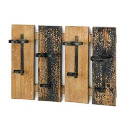 Rustic Wood Wall Decor by Wall Mounted Wine Rack Wood Wrought Iron Bottle Holder