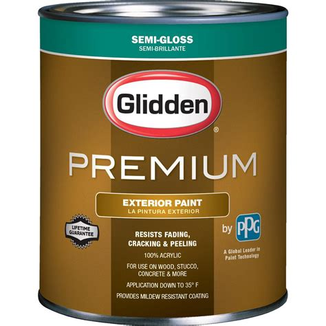 glidden premium 1 qt semi gloss water based acrylic exterior paint gl6812 04 the home depot