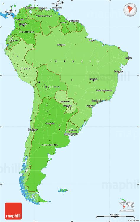 america map simple political shades simple map of south america