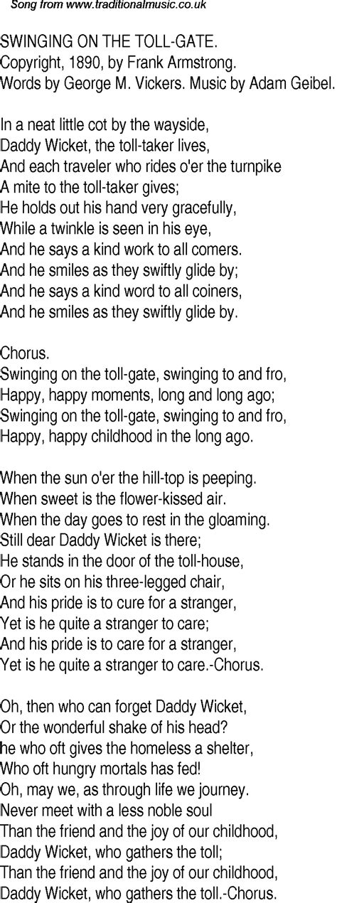 swinging song lyrics old time song lyrics for 30 swinging on the toll gate