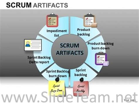 6 staged scrum artifacts diagram powerpoint diagram