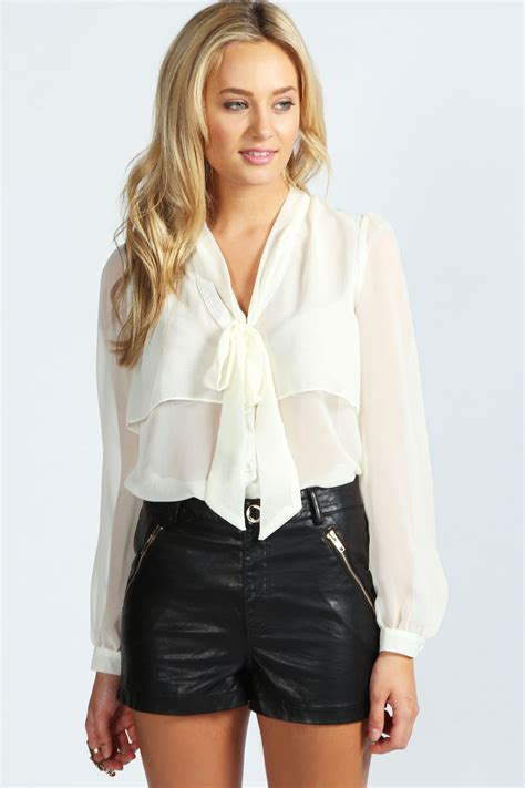 S Sleeve Blouses Uk by Boohoo Womens Sleeve Pussybow Blouse Ebay
