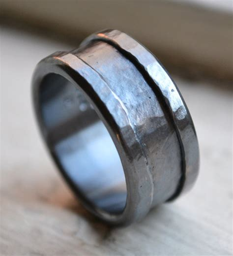 Handmade Metal Rings - custom mens wedding band oxidized silver and sterling