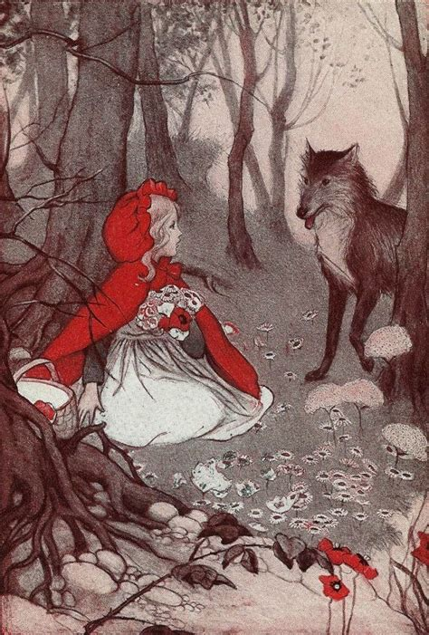little red riding hood and wolf illustration vintage 1930 s little red riding hood illustration