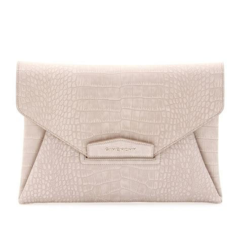 Givenchy Antigona Croco 1081 L givenchy antigona croco embossed suede envelope clutch