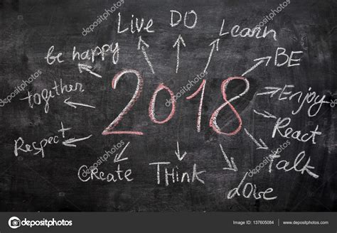 new year 2018 time 2018 new year resolution goals written on cardboard with