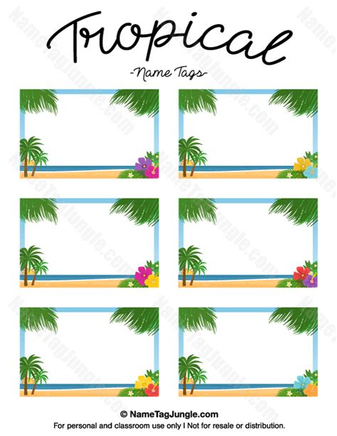 ocean theme name cards names and cards free printable tropical name tags the template can also