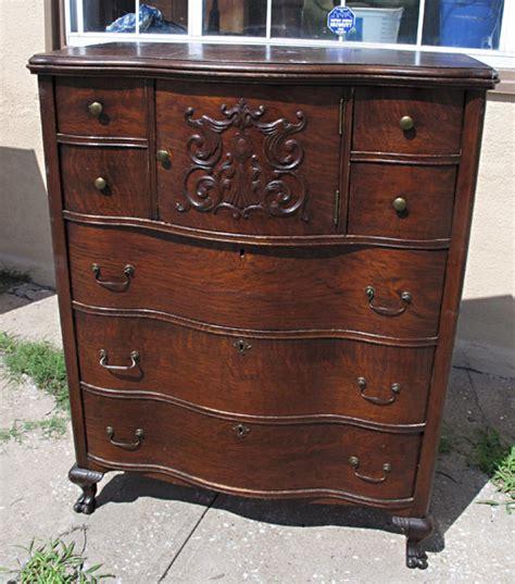 oak highboy dresser with hat box