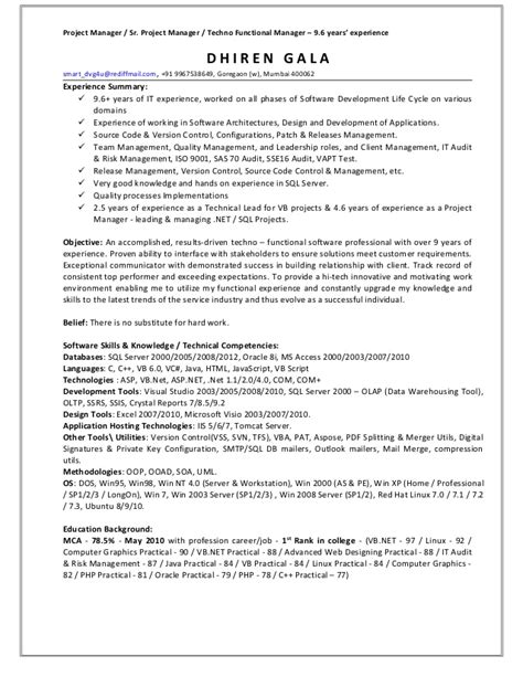 functional project manager resume resume