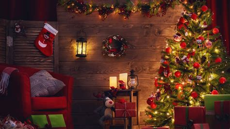 wallpaper christmas decoration xmas tree gifts 5k