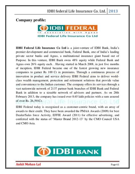 Idbi Bank Letterhead Format The Study Of Insurance Products Being Offered By The Global Mark