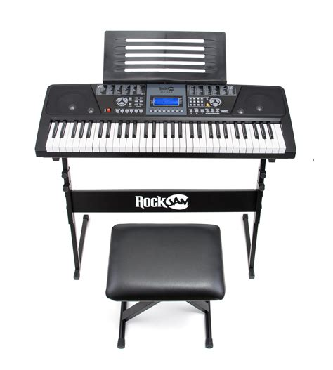 Keyboard And Stool by Rockjam 61 Key Electronic Keyboard Superkit