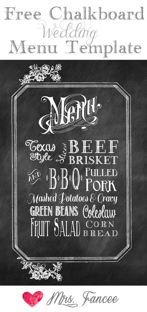 chalkboard wedding menu free template mrs fancee