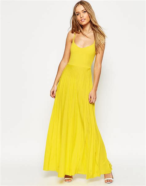 asos cami maxi dress with pleated skirt in yellow lyst