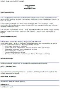 Retail Assistant CV Example   icover.org.uk