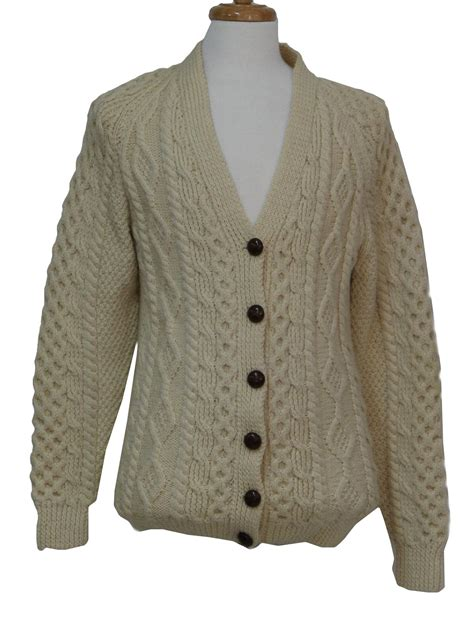mens cable knit cardigan sweater 1970 s vintage una oniel caridgan sweater 70s una oniel