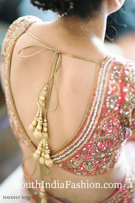 Deep V Neck Tie Back Saree Blouse Designs ? South India