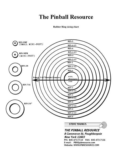 printable ring size sheet pinball rubber ring size chart