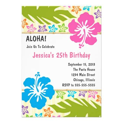 hawaiian luau party invitation 5 quot x 7 quot invitation card