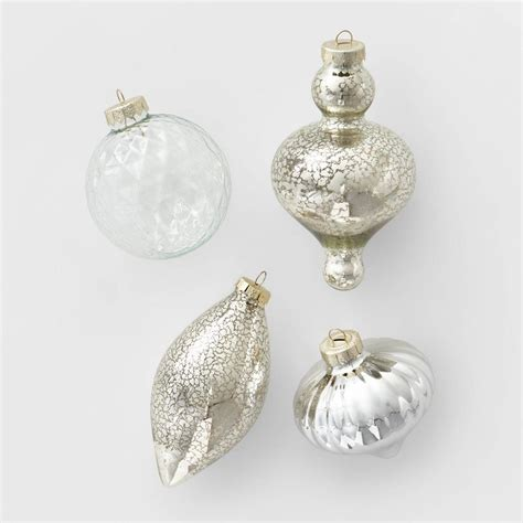 ct glass assorted christmas ornament set clear silver
