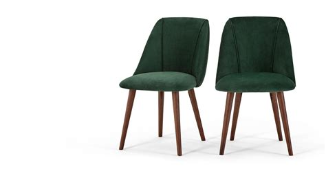 2 x Lule Dining Chairs, Pine Green Velvet   MADE.com