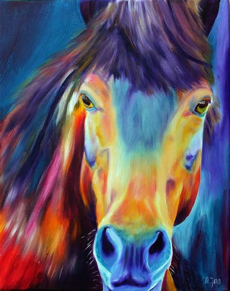 colorful horses colourful painting painting of a