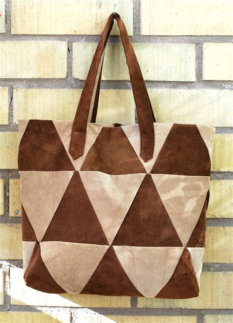 Triangle Patchwork - triangle patchwork tote bag rags to couture