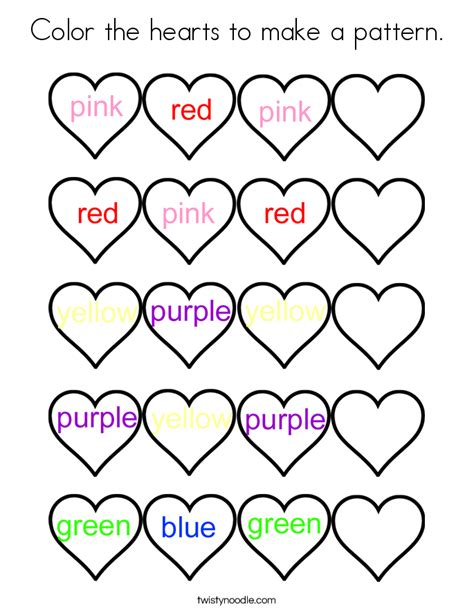 heart pattern for preschool color the hearts to make a pattern coloring page twisty