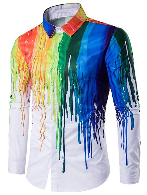 colorful shirts sleeves white colorful splatter paint print