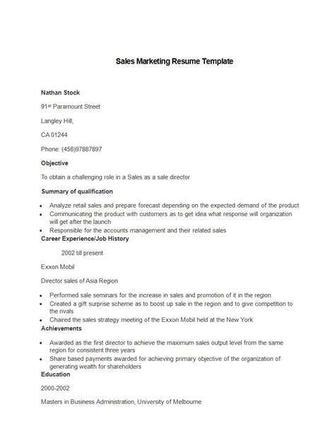 sales executive resume sample example marketing customers