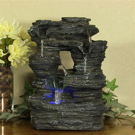 indoor home decor tabletop falls rock water by