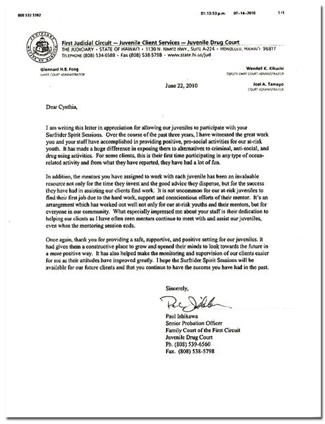 Community Service Letter To Probation Officer Sle Letter To Judge Contoh 36