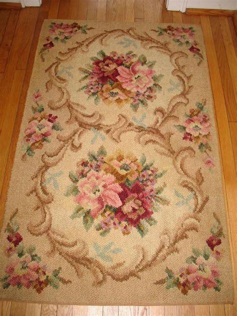 mohawk floral rug 40s 50s vintage mohawk shangay hooked wool rug floral 3 x5 barkcloth era living room