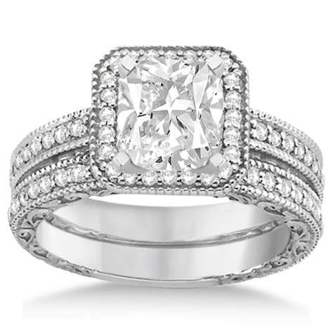 Square Wedding Rings by Square Halo Wedding Band Engagement Ring 14kt White Gold