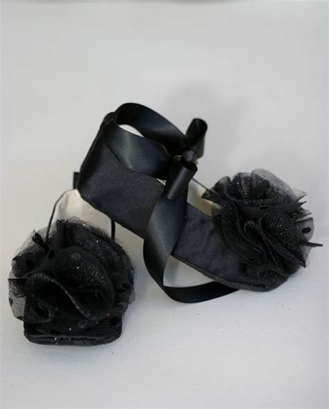 black shoes for baby black satin baby shoes flower toddler ballet slipper