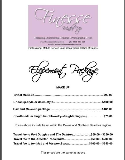 Wedding Hair And Makeup Price List by Wedding Price List Makeup Finesse Makeup